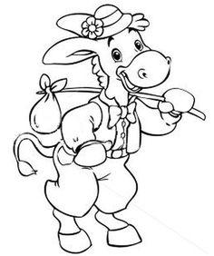 Planse de colorat si fise pentru copii: MAGARUL - PLANSE de colorat cu Animale Domestice Smurfs, Disney Characters, Fictional Characters, Minnie Mouse, Teacup Pigs, Cow, Disney Face Characters