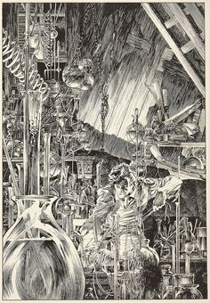 Bernie Wrightson - Frankenstein in the Laboratory, c. 1978 by myriac, via Flickr | Click through for a larger image