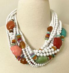 Spectacular Angela Caputi White, Multi Color Resin Bead & Rhinestone Necklace #AngelaCaputi #Choker