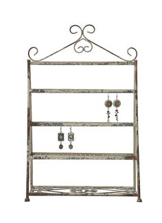Store and display your jewelry in style by using this Rustic White Metal Earring Holder from Home Decorators Collection. Bracelet Display, Jewellery Display, Jewelry Tree Stand, Creative Co Op, Rustic White, Storage Boxes, Home Decor Accessories, Ladder Decor, Cool Things To Buy
