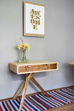 Makeup Desk Inspiration Wood  Details Walnut and Sycamore - Saara Mini Desk is the unconventional mini desk with a twist. This statement piece challenges traditional ideas about workstations and gives you extra reasons to enjoy your work and be productive.