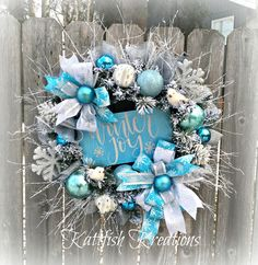 Winter Wreath Blue and Silver Wreath Winter Joy Wreath Aqua Christmas, Coastal Christmas, Christmas Signs, Rustic Christmas, Christmas Crafts, Christmas Decorations, Christmas Drinks, Christmas Nativity, Primitive Christmas