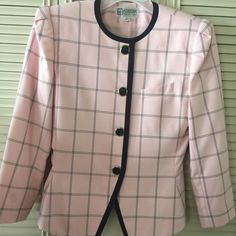 Beautiful women's suit top & skirt! Easters soon Skirt 27 inch waist, navy blue pink plaid, length is 25 inches, beautiful suit, fully lined, 9/10 Aturim Tops Blouses