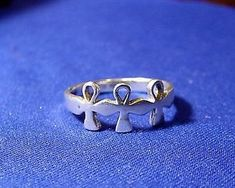 Vintage THREE ANKH Sterling Silver Ring Size almost  | eBay
