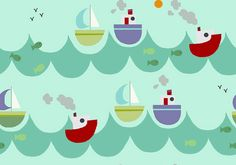 Boats and Ships Pattern by Phatsheep Textiles
