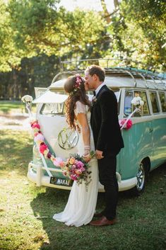 Wild And Free Hippie Wedding Ideas ★ hippies wedding car bus decorated with bright garland and flowers ljm photography Wedding Goals, Boho Wedding, Summer Wedding, Dream Wedding, Wedding Day, Hippie Wedding Dresses, Hippie Weddings, Hippie Wedding Hair, Wedding Planning
