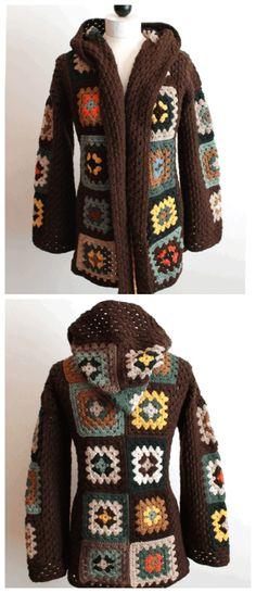 Transcendent Crochet a Solid Granny Square Ideas. Inconceivable Crochet a Solid Granny Square Ideas. Gilet Crochet, Crochet Coat, Crochet Cardigan, Crochet Clothes, Granny Square Sweater, Granny Square Crochet Pattern, Crochet Granny, Free Crochet Jacket Patterns, Garter Stitch