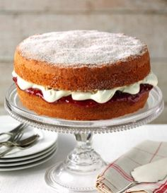 Victoria sponge recipe  Named after Queen Victoria who favoured a slice of sponge cake with her afternoon tea. A traditional Victoria sponge is filled with softly whipped cream and jam and dredged with caster sugar.