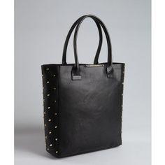 BCBGMAXAZRIA Black Leather 'raina' Studded Side Tote ($235) ❤ liked on Polyvore