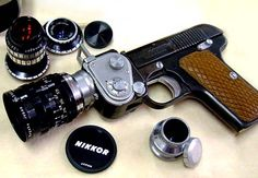 "We have heard of the term ""shooting picture"" but this is taking it to a whole new level. The Doryu 2-16 Pistol Camera is actually a 16mm, Japanese police-issued camera. A Cine-Nikkor 25mm F1.4 lens is fixed to the end of the barrel. It definitely is a very interesting gadget but we suspect that it is perhaps not the most airport-friendly camera around."