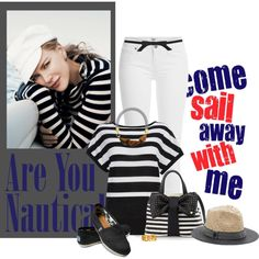 Nautical for Spring by sherry7411 on Polyvore featuring moda, Wallis, Paige Denim, Betsey Johnson, Marni, Ciner, Vince Camuto, Topshop, TOMS and nauticalstyle