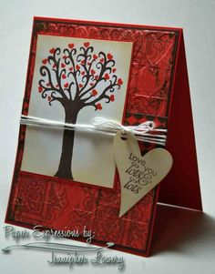 Love this card, embossed base, inked edges... think the string should be lower