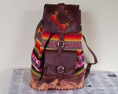 Unique style hand crafted real buffalo leather bags by guntaboutique Vintage Leather Backpack, Brown Leather Backpack, Leather Shoulder Bag, Shoulder Bags, Backpack Purse, Travel Backpack, Travel Bags, Handmade Purses, Leather Bags Handmade