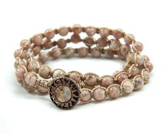 Sunstone Desert Beaded Macrame Triple Wrap Bracelet by GemsdeVine, $36.99