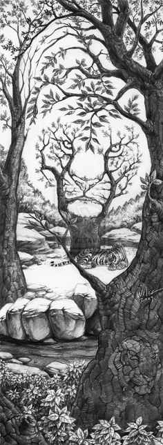 The Sleeping Tiger Optical Illusion The_Sleeping_Tiger_by_willustration – Mighty Optical Illusions. This would make an awesome tattoo! Sleeping Tiger, Illusion Kunst, Op Art, Devaint Art, Oeuvre D'art, Cool Drawings, Pencil Drawings, Drawings Of Tigers, Artwork Drawings