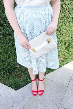 Blue Midi Skirt by Haute 74 | Beauty and the Binky blog