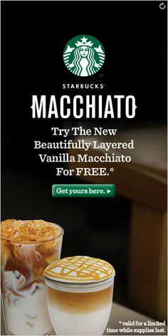 Simple, classic starbucks banner ad that keeps with the brand that is instantly recognisable