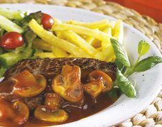 Biefstuk in kruidenboter met champignonsaus | Colruyt
