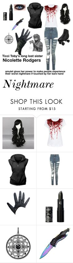 """Creepypasta OC"" by randomgirl1904 ❤ liked on Polyvore featuring Riedell, WithChic, Topshop, FRACOMINA, Lipstick Queen, Thomas Sabo and Handle"