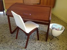 Super Rare Brown Saltman Walut Roll Top Desk by greencycledesignLA