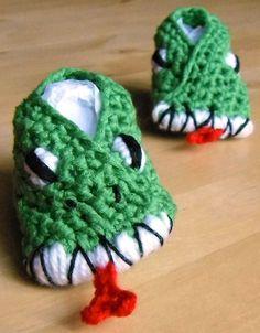crocheted monster baby booties 3