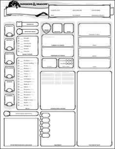 The Adventure Zone Dry Erase D&D Character Sheet