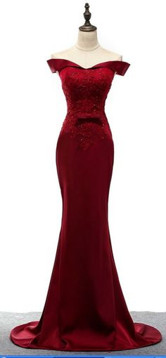 Burgundy Mermaid Lace Boat Neckline Gown