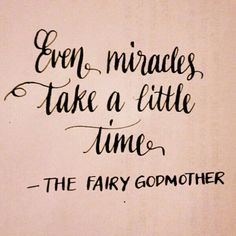 Even miracles take a little time. --The Fairy Godmother