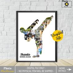 Karate Photo Collage-Karate Collage-Judo Collage-Sensei Gift Karate-Karate Teacher Gift-Gift For Coach-Printable Collage-Custom Collage Crafts With Pictures, All Pictures, Karate Photos, Karate Karate, Collage Frames, Online Printing Services, Bullet Journal Ideas Pages, Team Names, Birthday Photos