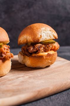 Tender fried chicken sliders with spicy mayo are a tasty little treat!