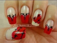 Barbed Wire Heart - 20 Ridiculously Cute Valentine's Day Nail Art Designs