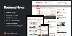 Business News - Responsive Magazine, News, Blog . Business News is a Clean Responsive News, Magazine and Blog Theme. With a responsive design it is easily usable with any mobile device like tablet or mobile phone, without removing any content! Great for news and blog sites, with integrated video and galleries in each news post, media post and blog