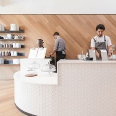 OpenScope Studio converts nail salon into  San Francisco cafe with honeycomb tiled front counter