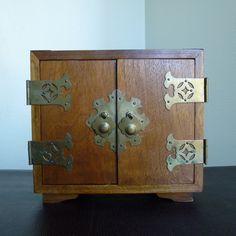 Vintage Oriental Jewelry Box Solid Wood w/Brass by AcodaMercantile, $39.00