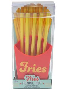 Fries pencil pot. All the fun minus the flavour this pencil pot is shaped like a portion of fries, complete with eight unsharpened yellow pencils.