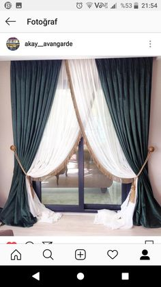 Pin by lahooma on Curtains in 2019 Bedroom Curtains With Blinds, Bay Window Curtains, Luxury Curtains, Elegant Curtains, Modern Curtains, Curtain Designs For Bedroom, Window Curtain Designs, Curtain Styles, Rideaux Design