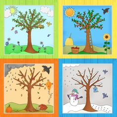 Zum Abschluss der Jahreszeitenbäume gibt es jetzt noch das Komplettpaket mit al. At the end of the season trees, there is now the complete package with all four trees in color and as coloring page, Fall Crafts, Crafts For Kids, Preschool Decor, Free To Use Images, Science Fair Projects, Winter Trees, Writing Paper, Kids Education, Four Seasons