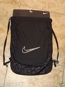 NIKE GYM SACK BACKPACK STRING BAG BLACK AND WHITE SWOOSH CHECK ...