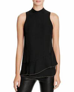 Parker Rozlynn Ruffle Overlay Silk Top | Bloomingdale's