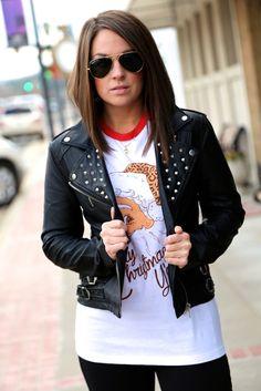 Studded Moto Jacket - Black