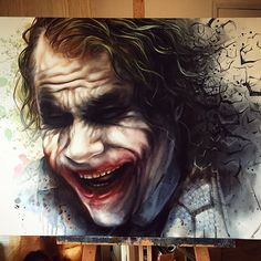 """NEW - 'Let's Put a Smile on that Face' Original Oil on 30""""x40"""" canvas.  Available at the exhibition  #joker #batmanarkhamknight #darkknight #proartist #instaartist #painting #comicart #studio #art #illustration #drawing #draw #picture #artist #sketch #sketchbook #paper #pen #pencil #artsy  #beautiful #instagood #gallery #creative #photooftheday #graphic #graphics #artoftheday"""