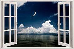 """BOMBA DEAL 3D Wandaufkleber Wandsticker """"Geöffnetes Fenster"""" Wandtattoo   Fototapete Wandtapete – XXL Vinyl-Wandbild mit 3D-Effekt – Selbstklebend & Wiederabnehmbar   Riesen Motivauswahl   85 x 120 cm   Motiv: Nächte am Meer"""