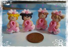 Pink Ribbon Girl Polymer Clay Charm Bead Scrapbooking Hair Bow Center. $2.75, via Etsy.