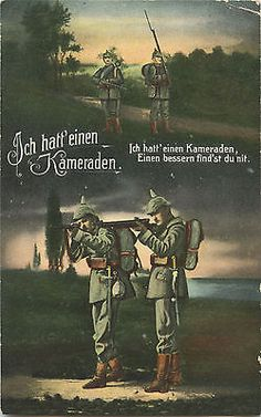 German WW1 Postcard, Soldiers, Pickelhaube, 'I had A Comrade' 1916