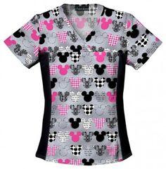 "Tooniforms Disney ""Mickey"" Women's V-Neck Knit Panel Top |  #nurses | #Disney | #fashion #scrubs"