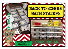 Back to School Math Stations designed after Debbie Diller. Each month covers 12 different math standards. Math Stations, Math Centers, Work Stations, Reading Centers, First Day Of School, Back To School, School Stuff, 1st Grade Math, Second Grade