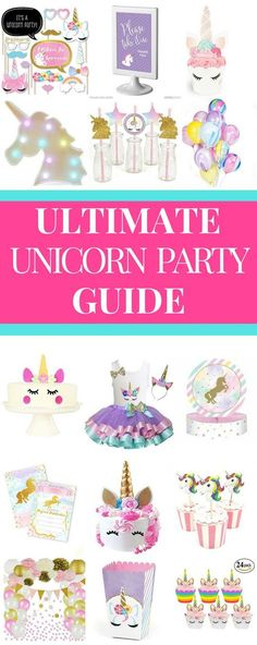 Searching for unicorn birthday party ideas? Check out the Ultimate Unicorn Birthday Party Guide for girls! It has the cutest unicorn birthday party decorations and cake ideas, plus fun unicorn games and activities kids love! Whether you're looking for unicorn party invitations, favors, ideas for goody bags, or photo booths this unicorn party guide has you covered! Don't miss the special unicorn outfit for the birthday girl! Click here to see it or pin it for later! #unicornparty…