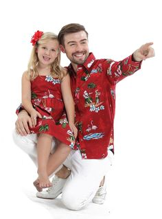 45b9b8ba1ab4 Father & Daughter Matching Men Long Sleeve Aloha Shirt and Girl Dresses in  Santa Red. Hawaii Outfits ...