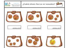 Sigo compartiendo tareas para trabajar el cálculo con cantidades hasta el 10 haciendo uso de las monedas de 1, 2, 5 y 10 céntimos. Esta Desserts, Autism, Food, Mental Calculation, Reading Comprehension, Maths Area, Addition And Subtraction, Preschool Printables, Math Resources