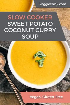 Could You Eat Pizza With Sort Two Diabetic Issues? With Sweet And Spicy Flavors, This Sweet Potato Coconut Curry Soup Is Not Only Incredibly Tasty, But Easy To Make In Your Slow Cooker And Blender. Sweet Potato Coconut Curry, Coconut Curry Soup, Vegetarian Appetizers, Vegetarian Recipes, Slow Cooker Sweet Potatoes, Vegetarian Casserole, Vegan Slow Cooker, Vegan Soups, Eat Pizza